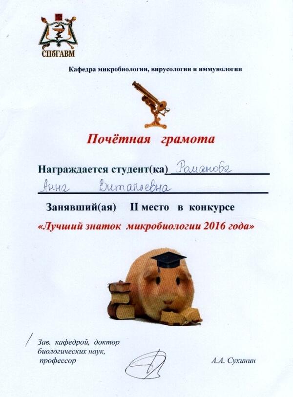Почётная грамота Романовой Анны Витальевны за II место в конкурсе «Лучший знаток микробиологии 2016 года».