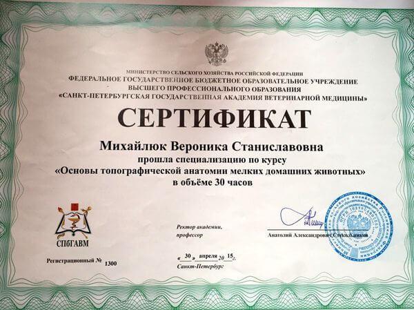 Сертификат СПбГАВМ по основам топографической анатомии мелких домашних животных выдан Михайлюк Веронике Станиславовне.