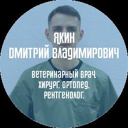 О докторе: Якин Дмитрий Владимирович. Ветеринарный врач, хирург, ортопед, рентгенолог, специалист по компьютерной томографии.