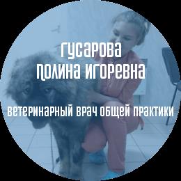 О докторе: Гусарова Полина Игоревна. Ветеринарный врач общей практики. С отличием закончила СПбГАВМ в 2018 году.